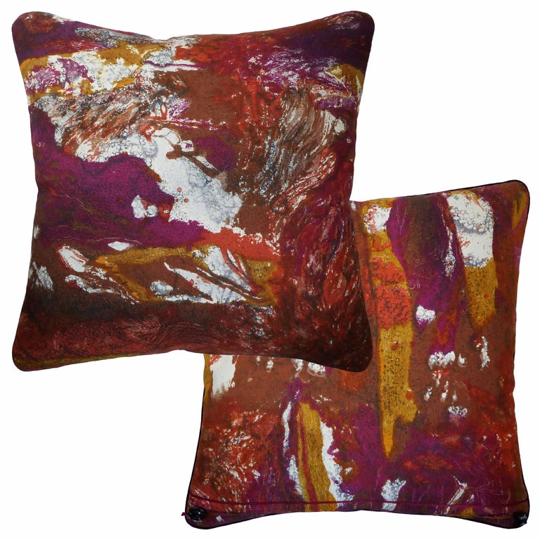 English 'Vintage Cushions' Luxury Bespoke-Made Pillow 'Tapa', Made in London For Sale