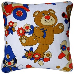 'Vintage Cushions' Luxury Bespoke-Made Pillow 'Teddy Bear Toys, Made in London