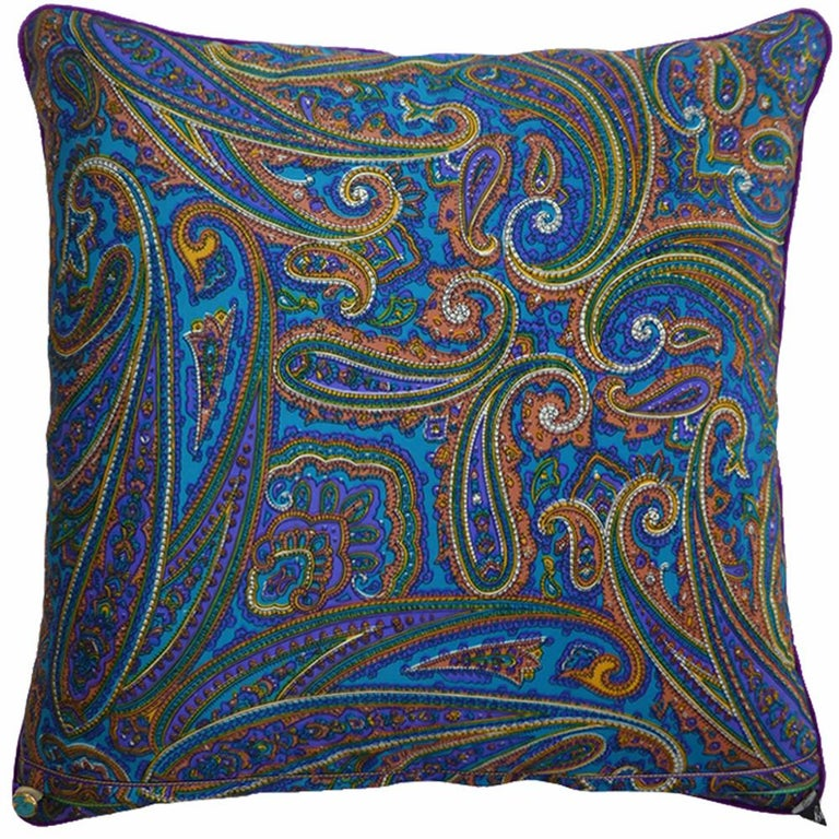 'Amaranth' circa 1980 British bespoke made luxury cushion created by using glorious vintage paisley patterned silk Provenance; Italy Silk with complete interfacing and full cotton lining Velvet edge trimming with an original vintage button on