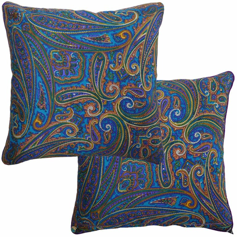 Mid-Century Modern 'Vintage Cushions' Luxury Bespoke-Made Silk Pillow 'Amaranth', Made in London For Sale