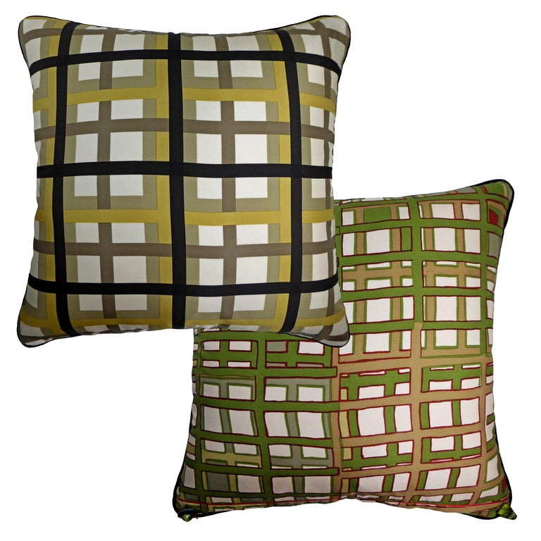 Basley-Dyer circa 1980  British made luxury cushion created by using original vintage silks featuring two absolutely beautiful and complimentary contrasting sides. Provenance: Britain and Italy Made by Nichollette Yardley-Moore  Vintage Cushions