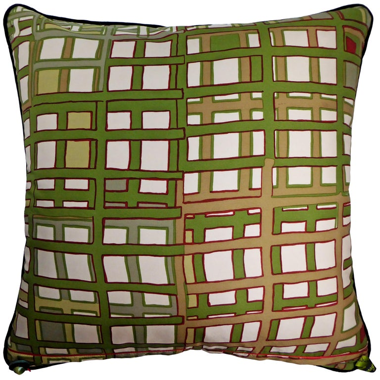 Organic Modern Vintage Cushions, Luxury Bespoke-made Silk Pillow Basley-Dyer, Made in London For Sale