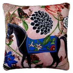 'Vintage Cushions' Luxury Bespoke Made Silk Pillow 'Equus Rosado' Made in London