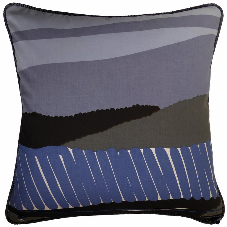 Verner circa - 1970 British bespoke-made luxury pillow created in original Scandinavian cotton furnishing fabric featuring an abstract landscape design Provenance: Sweden Made by Nichollette Yardley-Moore Cotton furnishing fabric with full cotton