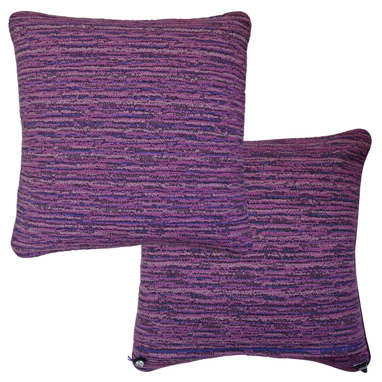 Buckingham pink and blue circa - 1960 British bespoke-made luxury pillow created in original fabric designed by Tibor Reich a Hungarian designer known for the pioneering techniques he brought to the British textile industry. Tibor Reich created