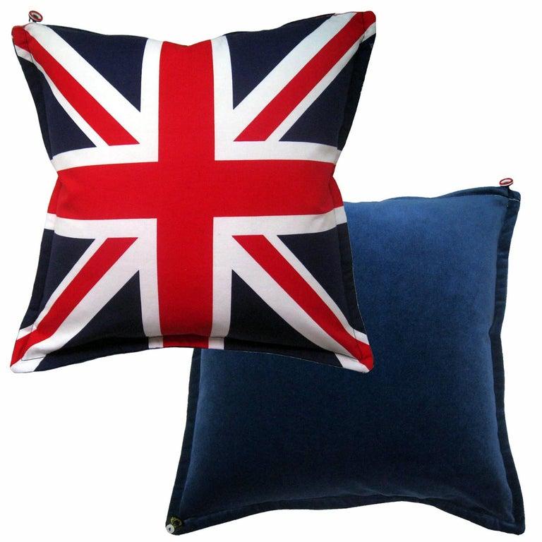 Organic Modern 'Vintage Cushions' Luxury Bespoke Pillow 'Velvet Flag-let', Made in UK For Sale