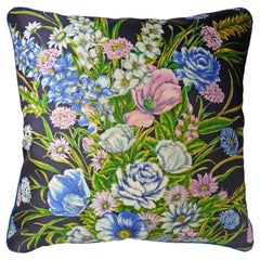 'Vintage Cushions' Luxury bespoke Silk pillow 'Botanical Bouquet' Made in London