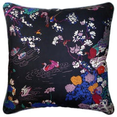 Vintage Cushions, Luxury Bespoke Silk Pillow, Oriental Lake, Made in London