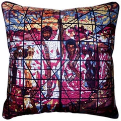Vintage Cushions Luxury Bespoke Silk Pillow, Stained Glass Window of Africa