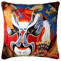 Vintage Cushions Luxury Bespoke Silk Pillow 'the Japanese Mask', British Made