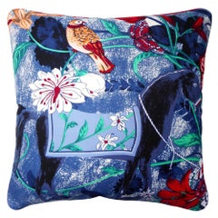 Vintage Cushions Luxury British Bespoke Silk Pillow 'Equus Azul' Made in London