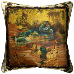 Vintage Cushions, Luxury Silk Bespoke Made Pillow 'Mallards', Made in England