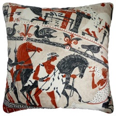 Vintage Cushions, Luxury Silk Bespoke-Made Pillow 'Mythology', Made in London