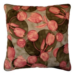 'Vintage Cushions' Luxury Silk Bespoke pillow 'Alma and Molasses' Made in London