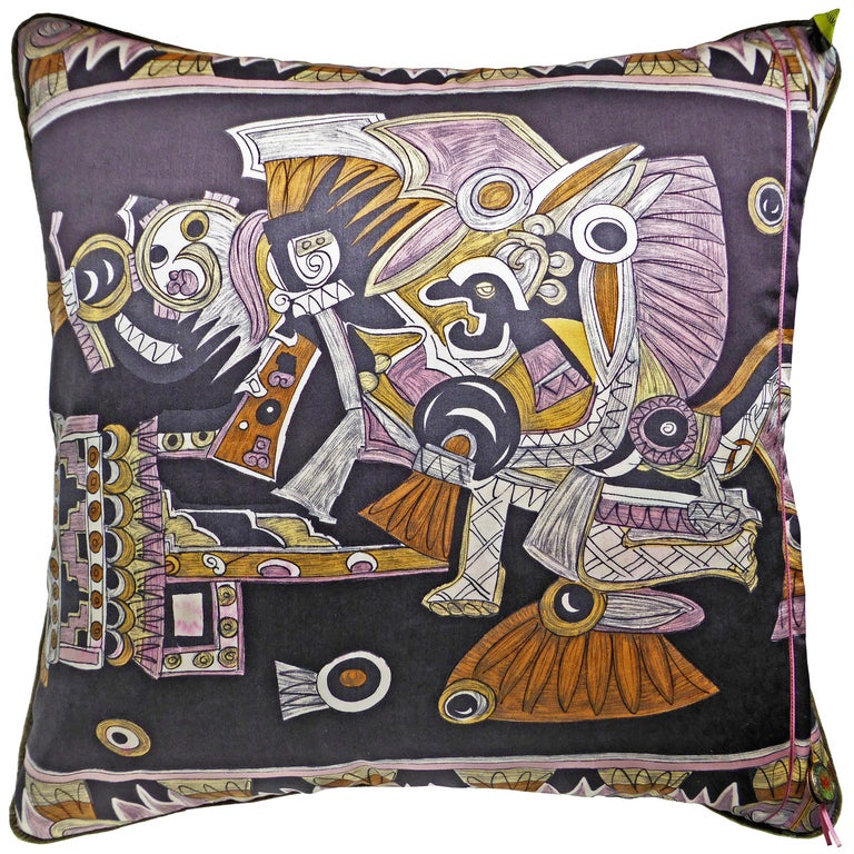 British Vintage Cushions, Luxury Silk Bespoke Pillow 'Dove of Peace', Made in London For Sale
