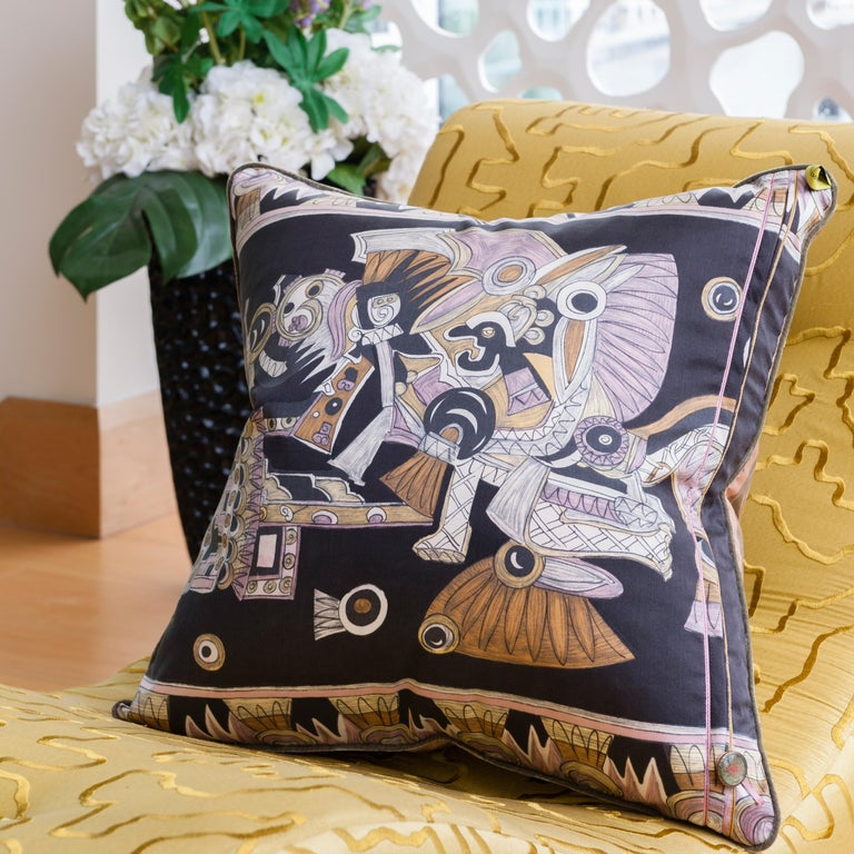 Hand-Crafted Vintage Cushions, Luxury Silk Bespoke Pillow 'Dove of Peace', Made in London For Sale