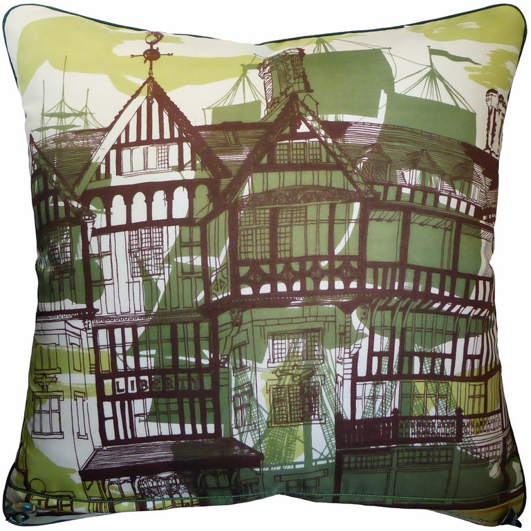 Liberty of London circa - 1960-1970 British bespoke luxury cushion created using original vintage silks with two beautiful and complimentary miss-match sides. The stunning front is in a beautiful silk design printed for The National Trust by