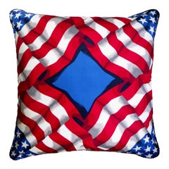 'Vintage Cushions' Luxury Silk pillow 'The Star Spangled Banner' Made in London
