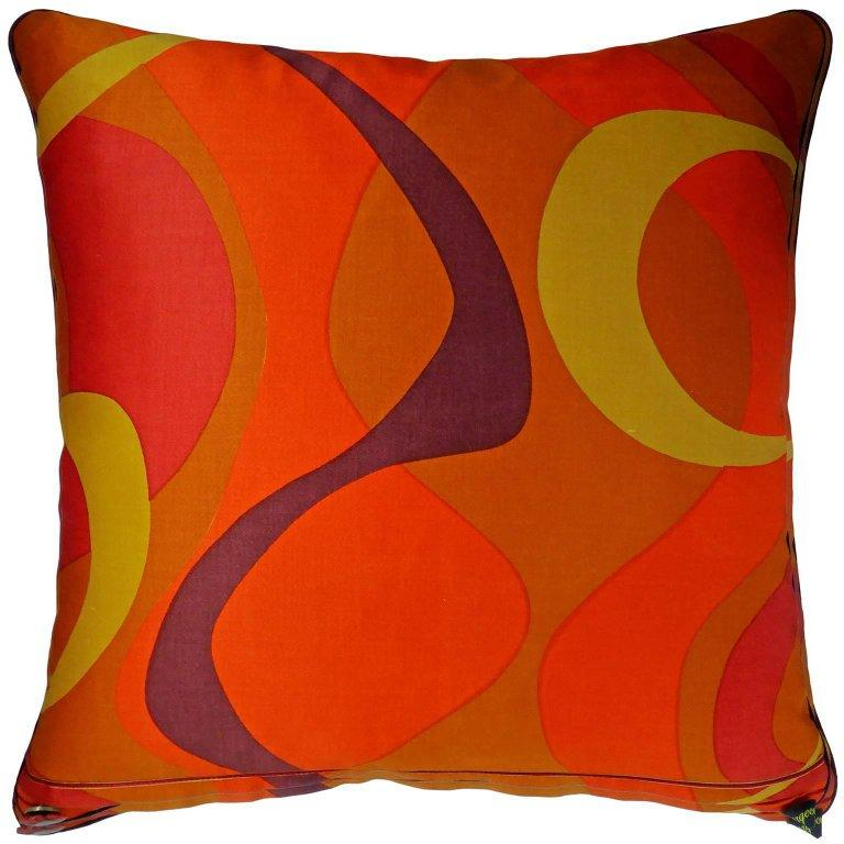 """Vintage Cushions """"Maypole"""" Bespoke 1970's retro fabric pillow - Made in London For Sale"""
