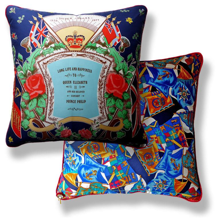 Organic Modern Vintage Cushions 'Silver Jubilee 1977' Front Pillow Side by Liberty of London For Sale