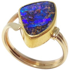 Vintage Custom 2 Carat Boulder Opal on 22K and 14K Gold Cocktail Fashion Ring