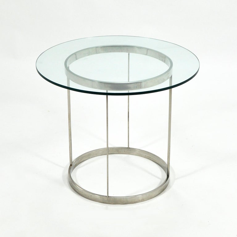 Vintage Custom Fabricated Stainless Steel Side Table For Sale 4