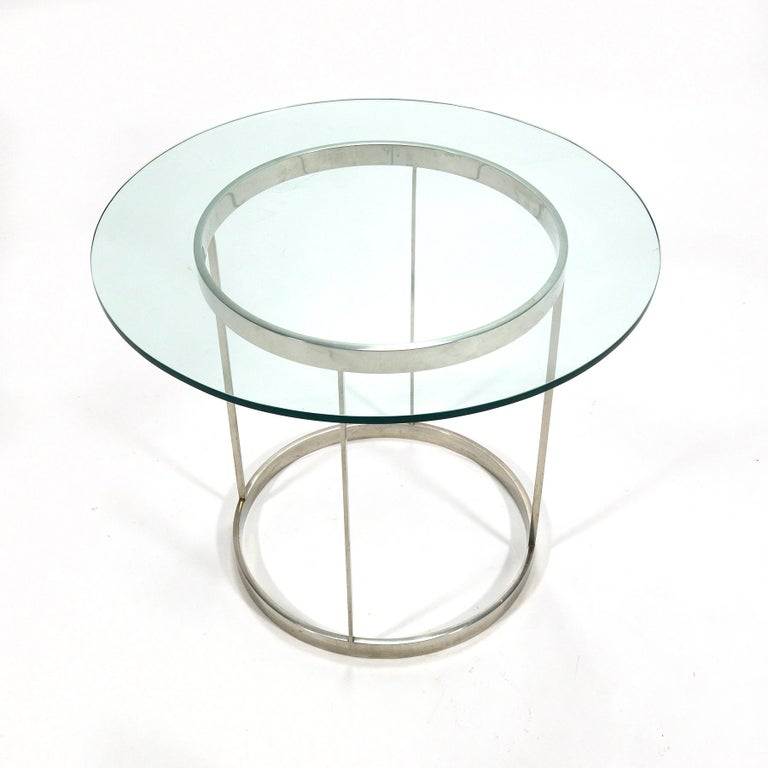 Modern Vintage Custom Fabricated Stainless Steel Side Table For Sale