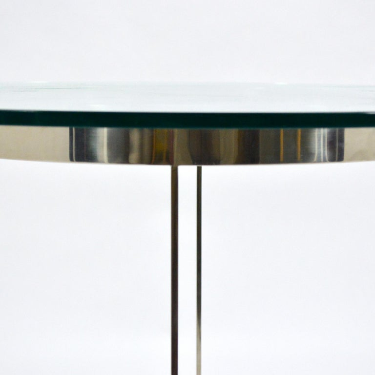 Vintage Custom Fabricated Stainless Steel Side Table In Good Condition For Sale In Highland, IN