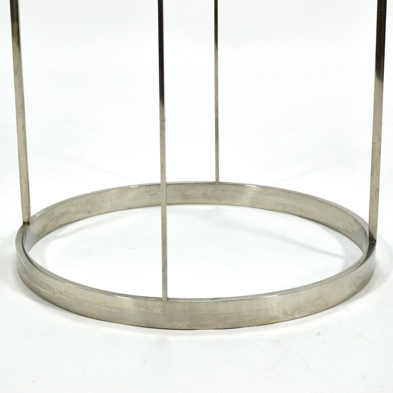 Late 20th Century Vintage Custom Fabricated Stainless Steel Side Table For Sale