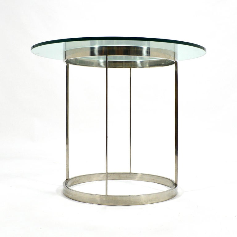 Vintage Custom Fabricated Stainless Steel Side Table For Sale 1