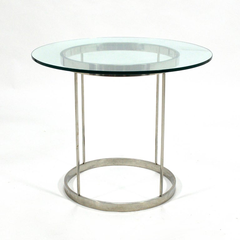 Vintage Custom Fabricated Stainless Steel Side Table For Sale 2