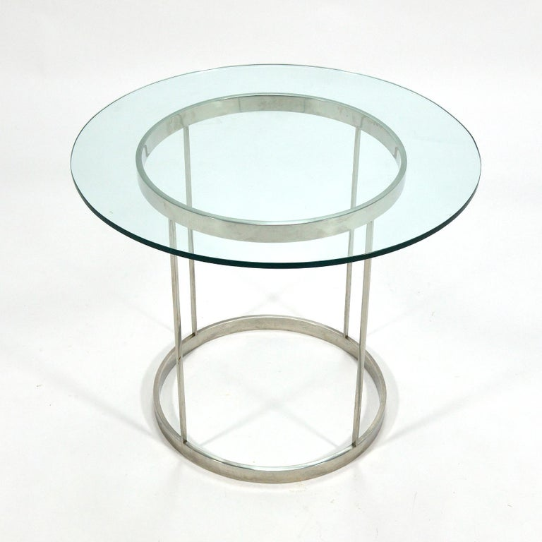Vintage Custom Fabricated Stainless Steel Side Table For Sale 3