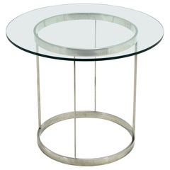 Vintage Custom Fabricated Stainless Steel Side Table