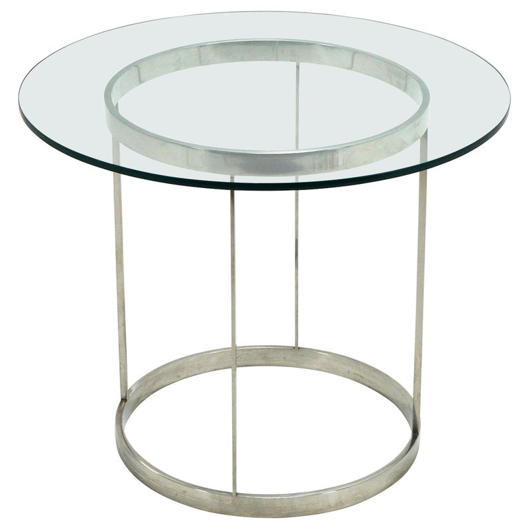Vintage Custom Fabricated Stainless Steel Side Table For Sale