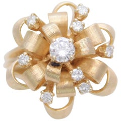 "Vintage Custom Made 14 Karat Diamond ""Ribbon"" Dome Ring"