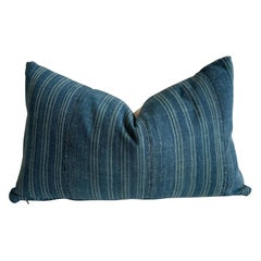 Vintage Custom Made Batik Blue Accent Pillow
