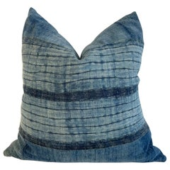 Vintage Custom Made Batik Blue Accent Pillow with Down Feather Insert