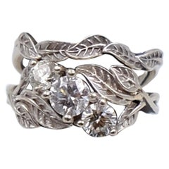 Vintage Custom Made Double Ring 1.2 Ct 3 Diamonds 14K White Gold size 5.5