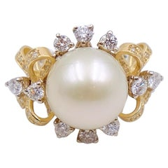 Vintage Custom Made Pearl and Diamonds Ring size 6.5