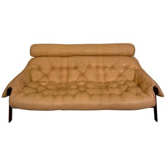 Vintage Custom Ordered Percival Lafer MP-41 Series Brazilian Leather Sofa