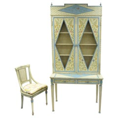 Vintage Custom Painted Italian French Regency Style Tall Secretary Desk & Chair