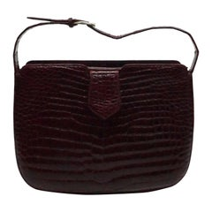 Vintage Custom Wine Crocodile Handbag-80's