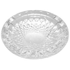 Vintage Cut Crystal Clear Glass Ashtray Monogrammed