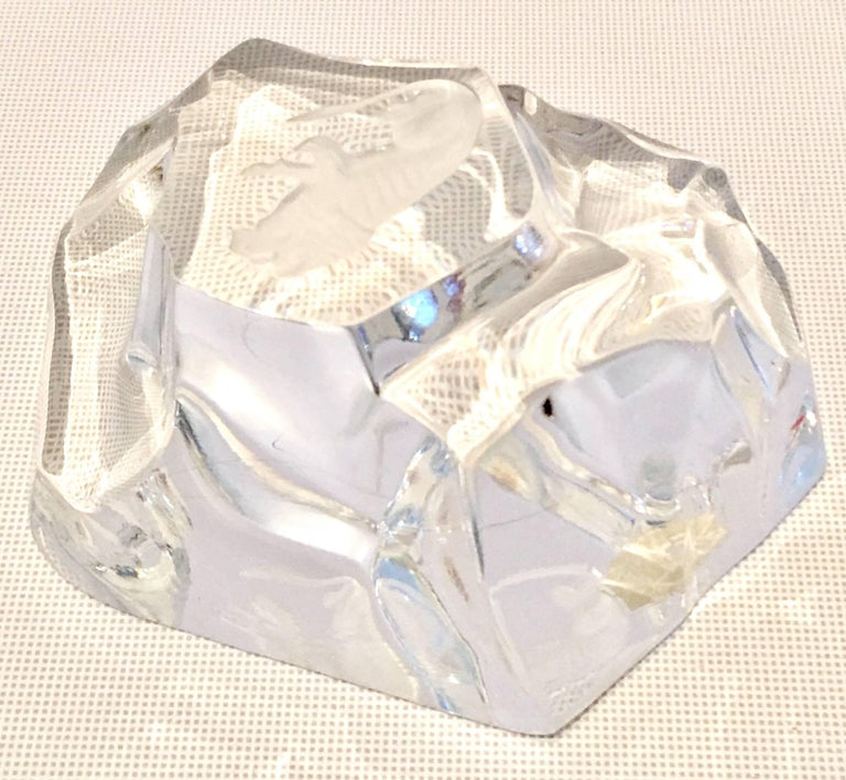 Vintage cut crystal organic form paper weight by Val St. Lambert. Features a organic form rock formation with a frosted central lion figure. Signed on the underside, etched as well as the original Val St. Lambert manufactures gold seal sticker is