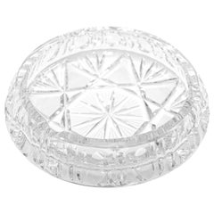 Vintage Cut Crystal Glass Ashtray, Italy, 1960s