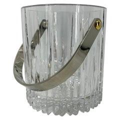 Vintage Cut Crystal Ice Bucket with Polished Chrome Handle
