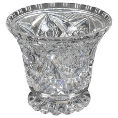Vintage Cut Glass Crystal Glass Vase, Mid-20th Century