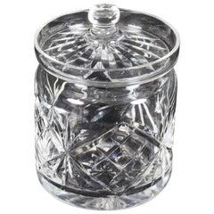 Vintage Cut Glass Crystal Lidded Jar Mid-20th Century