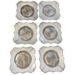 Vintage Cut Glass Dessert Plates, Set of 6