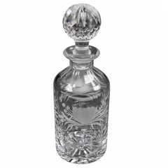 Vintage Cut Glass and Engraved Crystal Decanter, 20th Century